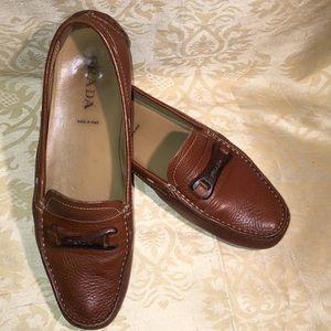 Tan Prada loafers